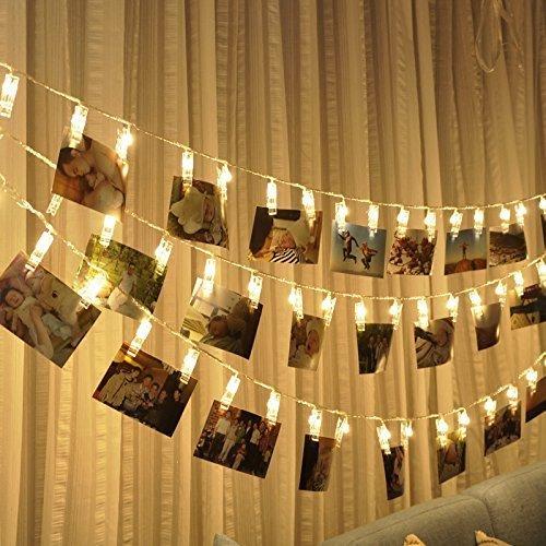 20 LED Foto Clips Lichterketten Stimmungsbeleuchtung Dauerlicht Weihnachtsbeleuchtung Sternenlicht Wanddekoration Licht für hängende Fotos Gemälde Bilder Karte und Memos warmes Weiß (20battery) (Karte Hängende Wand)