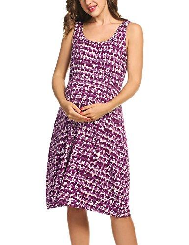 HOTOUCH Damen Umstandskleid Umstandsmoden Schwangerschaftskleider Maternity Kleid Brautkleid Jerseykleid Sommer Kleid Ärmellos Typ1-Lila Punkt