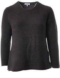 Pullover Damen Rippstrick-Struktur Pulli in Braun von Serena Malin  Strickpullover Langarm für Mollige Damen 580a0e95d9