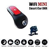 Mini caméra de voiture Dash Cam avant et arrière, WiFi, Pro HD 1080p Caméra de voiture avec vision de nuit, 170° Grand Angle, capteur G, enregistrement en boucle, détection de mouvement, parc moniteur