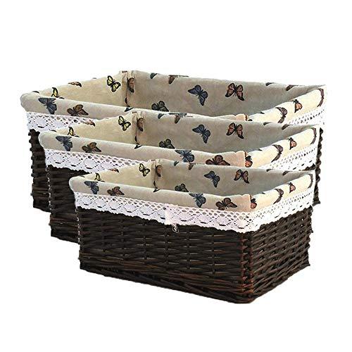 3PCs / Set Wicker Ablagekorb Rattan Ablagekorb Woven Basket Obstkorb für Picknick -