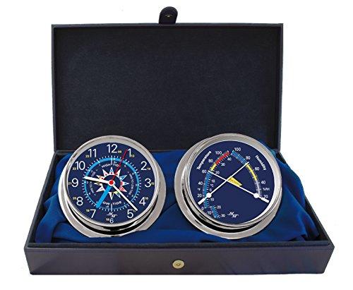 Produktbild MASTER-MARINER USA Blau Mariner Collection, nautisches Cabin Set, 14,6cm Durchmesser Time & Tide Uhr und Komfort Meter Instrumente, Chrome Finish, Blau Signal Flagge Zifferblatt