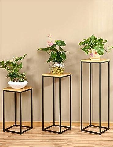 Porte-fleurs, porte-fleurs Américain rétro en bois massif fer forgé pot de fleurs étagère balcon salon porte-fleur support de pot plante stand Balcon, support de fleurs en plein air ( taille : Pack Of 3