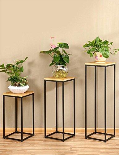 Porte-fleurs, porte-fleurs Américain rétro en bois massif fer forgé pot de fleurs étagère balcon salon porte-fleur support de pot plante stand Balcon, support de fleurs en plein air ( taille : Pack Of 3 )