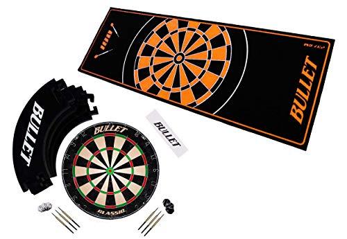 BULLET-Darts Großes Dart Turnier Set, Dartboard aus Brasilianischen Sisal, 6 Steeldarts, Surround Ring, Wurflinie und Einem professionellem Teppich (Schwarz-Orange)