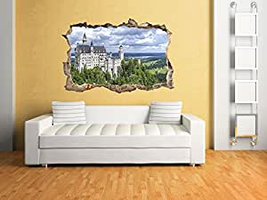 3d wandsticker schloss neuschwanstein in 3d optik f r einen tollen effekt wanddeko 3d wandtattoo. Black Bedroom Furniture Sets. Home Design Ideas