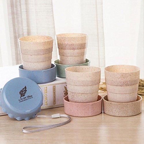 Portable Pliante Cup. Xshuai® Paille de blé Plastique télescopique potable pliable de voyage Pop Up Mug Camping Idée de cadeau, Green, Size:7cm
