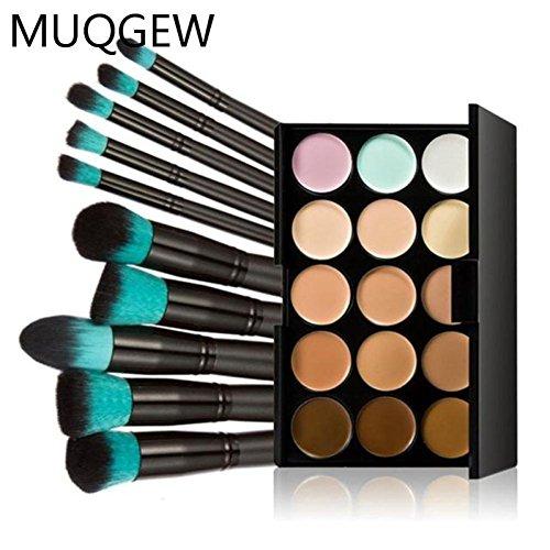 Amuster 10 pcs pinceaux de maquillage Set poudre Fondation fard à paupières outil + 15 couleurs Concealer (Comme montré)