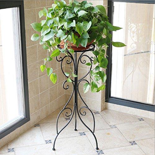Djl flower stand singolo lavabo soggiorno balcone interno piano semplice vaso di fiori europeo stand sts (colore : black, dimensioni : l36cm*h79cm)
