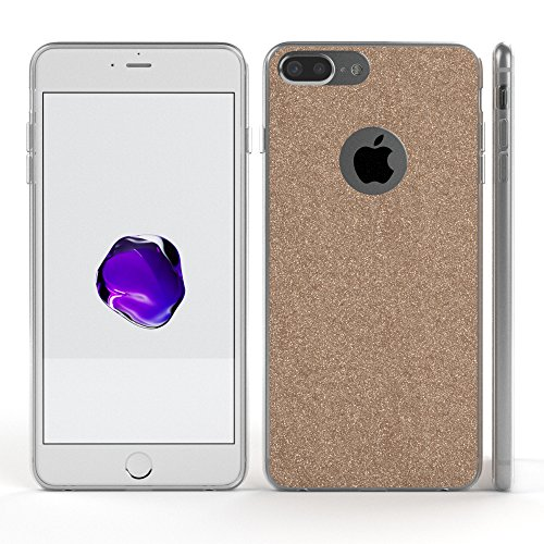 "iPhone 8+ Hülle / iPhone 7+ Hülle - EAZY CASE Slimcover ""Henna"" Handyhülle für Apple iPhone 7 Plus & iPhone 8 Plus - Flexible Schutzhülle mit Indian Sun Design in Weiß / Rosa Transparent Champagner"