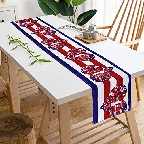 Schlümpfe Yingda Amerika-Flagge mit Herzen, Tischläufer, Unabhängigkeitstag, 14. Juli, wasserdicht, Tischläufer für Sommerpartys, Catering-Events, Alltag, 30,5 x 177,8 cm 12