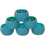 AsiaCraft Sky Blue Beaded Napkin Rings - Set Of 6 Rings