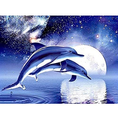 Hukz Halloween 5D Stickerei Gemälde Strass eingefügt DIY Diamant Malerei,40 * 30cm ,Dolphin Spiel Monat,ür Wohnzimmer, Schlafzimmer, Arbeitszimmer usw (Farbe) (Easy Halloween-spiele Diy)