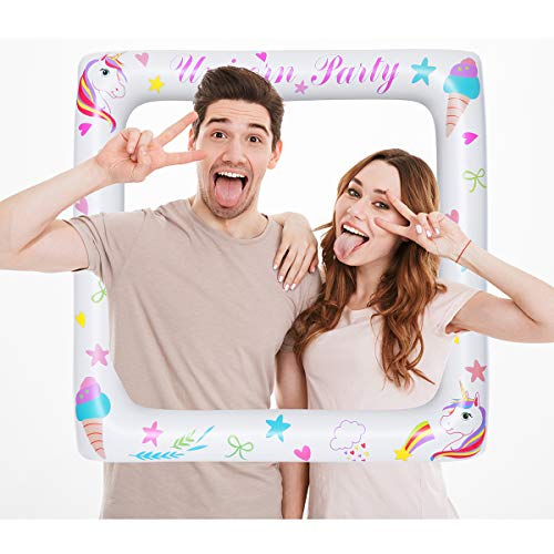 BESTOYARD Inflatable Unicorn Frame Unicorn Frame Photo Booth Props Funny Selfie Frame - Birthday | Marriage | Baby Shower | Christmas Party Decorations