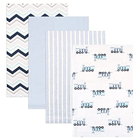 Luvable Friends 4 Piece Flannel Receiving Blankets, Train