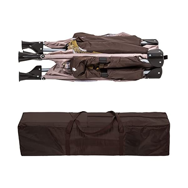 TecTake Portable Child Baby Infant Playpen Travel Cot Bed Crawl Play Area new - different colours - (Brown Coffee | No. 402207)  Only the best for my baby: Our high-quality manufactured baby playpen is excellently suited to play, crawl around and to sleep. // Total dimensions: (LxWxH): 105 x 105 x 78 cm. As it is especially space-savingly collapsible, you won't only use it at home but also when travelling. // Dimensions collapsed (LxWxH): approx. 94 x 20 x 20 cm. The side elements are furnished with breathable mesh-textures, so that you can always keep an eye on your little darling. In addition, the playpen has a padded sleep mat and thus serves as a small travel cot. 6