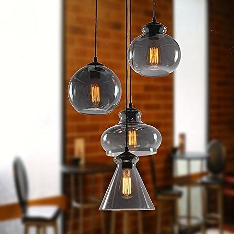 CHJK BRIHT Retrò Le luci pendenti con salotto mobili cafe schermo di vetro ciondolo coperchio barra luci di lampade