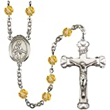 Argent Plaqué chapelet Caractéristiques 6mm topaze perles Fire poli. La Crucifix mesure 15/8X 1. Le Centre possède une médaille Saint Remi de Reims.