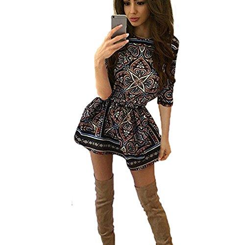 (KPILP Frauen Retro Formelle Kleidung Bohemia Kurzarm Blume Gedruckt Petticoat Casual Rockabilly Minikleid(Multicolor,EU-40/CN-S)