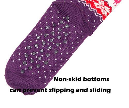 HapiLeap ABS Stoppersocken Wollsocken Wintersocken Norwegersocken mit Innenfrottee für Damen, Herren, Jungen und Mädchen Rose+Purple