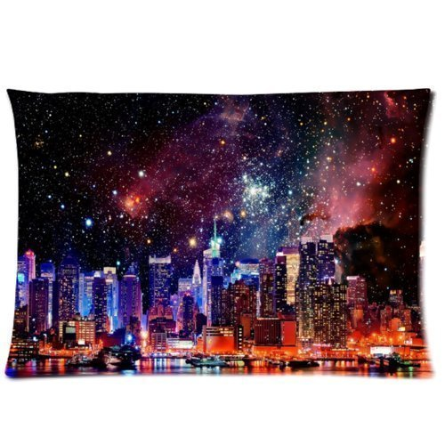 Amxstore Cotton Polyester Decorative Throw Pillow Cover Cushion Case Pillow Case,two side Nebula Galaxy Space Universe, New York City Skyscrapers Skyline Buildings