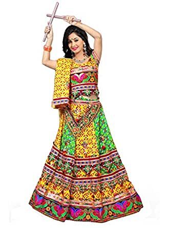 Mirchi Fashion Self Design Yellow and Multicolor Navratri Special Kutch Embroidered Stitched Cotton Lehenga Choli
