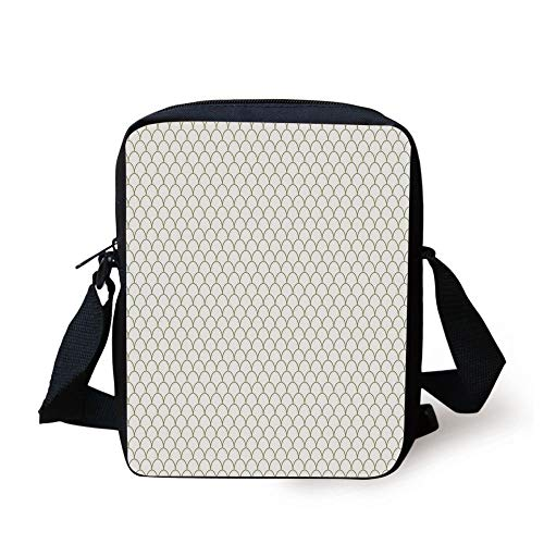 Fish Flake Style Geometric Round Wavy Shapes Modern Design,Fern Green and White Print Kids Crossbody Messenger Bag Purse ()