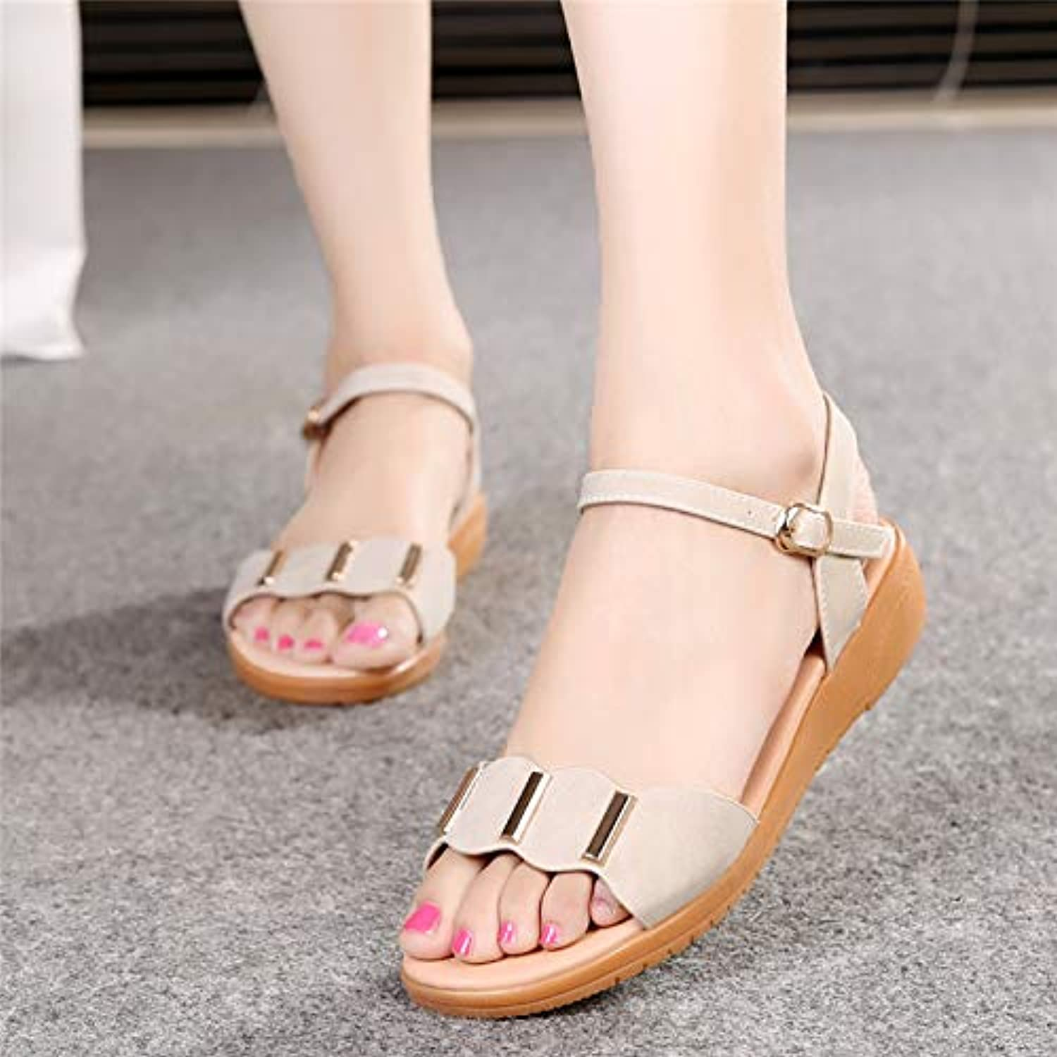 LGK&FA Sandals Summer Slopes Middle Age and Middle-Aged Women's Shoes. Thirty-Eight Beige