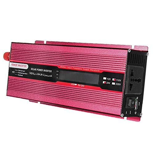 Haihuic 1500W / 800W Wechselrichter, DC 12V zu AC Steckdose 220V Autokonverter mit 2.1A USB-Anschluss, Krokodilklemme und Adapter für Zigarettenanzünder | rot -