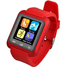 Wanway [Upgraded Version of U8] U80 Bluetooth 4.0 Smart Wrist Wrap Watch Phone for Smartphones IOS Android Apple iphone 5/5C/5S/6/6 Puls Android Samsung S3/S4/S5 Note 2/Note 3 Note 4 HTC Sony (Red) by Wanway