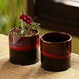 ExclusiveLane 'Midnight Sun' Hand Glazed Balcony Decorative Ceramic Flower Planters Pot (720 ML, Set of 2)