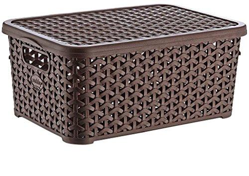 Aufbewahrungsbox mit Deckel 10 Liter Creme Rattan Style 34x20x15 cm 2 Stück (Rattan-speicher-körbe 2)