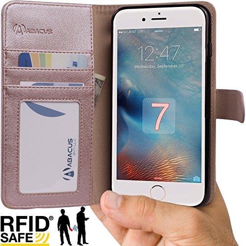 iPhone 7 Custodia, Abacus24-7 RFID Blocco Portafoglio con Sopporto Pieghevole e Tasche interne per carte di credito o d'identita - Oro Rosa
