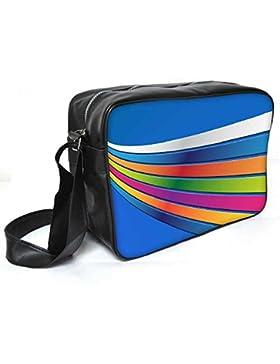 Snoogg blau Hintergrund Streifen Leder Unisex Messenger Bag für College Schule täglichen Gebrauch Tasche Material PU
