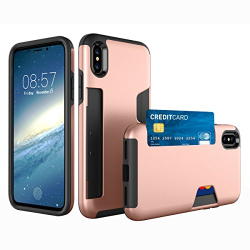 CaseforYou Hülle iphone X Schutz Gehäuse Hülse Anti-scratch Cellphone Case Shock Resistant Protector Shell with Card Slot Schutzhülle für iphone X (Grey) Rose Gold