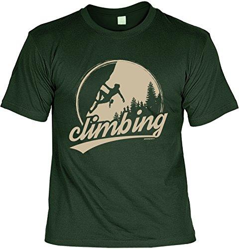 Freizeit/Wander/Kletter-Shirt/Sprüche-Shirt Thema Wandern: Climbing für Gipfelstürmer Dunkelgrün