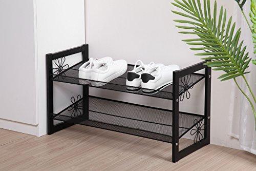 Blumenentwurf Schuhregal Schuhständer Stapelbar aus Metall mit Griffen - Stabil Schuhablage Schuhaufbewahrung aus Eisen (2 Ablagen, Schwarz)