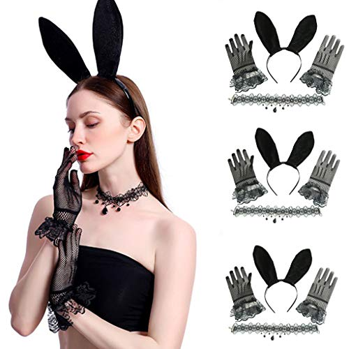 Tensay Frauen Erwachsene Dress up Party Bunny Zubehör Geschenk Dekoration Sets Handschuhe + Stirnband + - Besten Black Metal Kostüm