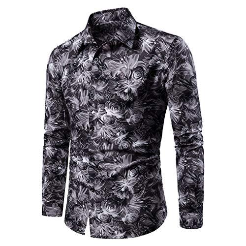 Aoogo Hemd, Mens Autumn Fashion Hemd beiläufige Lange Hülsen-Strand-Oberseite lose beiläufige Hemd-Bluse