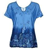 OverDose Damen Blumen Spitze Tops Frauen Kurzarm V-Ausschnitt Spitze Gedruckte Lose T-Shirt Bluse Oberteile Tees Shirt(X-d-blau1,5XL)