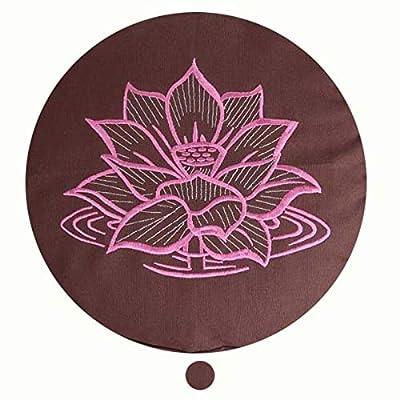Yogakissen Meditationskissen rund Stickerei Prana oder Lotus - Sitzhöhe 12cm - Waschbarer Bezug aus Baumwolle - Yoga Sitzkissen mit Bio-Dinkelspelzfüllung
