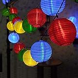 ISUDA Lichterkette Bunt Lampions Innen Außen - String Lights Outdoor,20 LEDs 5m Laterne Wasserdichte Batteriebetriebene Gartenbeleuchtung LED Lichterkette Dekoration für Garten Weihnachten Party Hochzeit