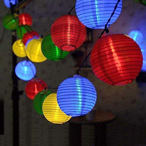 (Lichterkette Bunt Lampions Innen Außen - String Lights Outdoor,20 LEDs 5m Laterne Wasserdichte Batteriebetriebene Gartenbeleuchtung LED Lichterkette Dekoration für Garten Weihnachten Party Hochzeit)