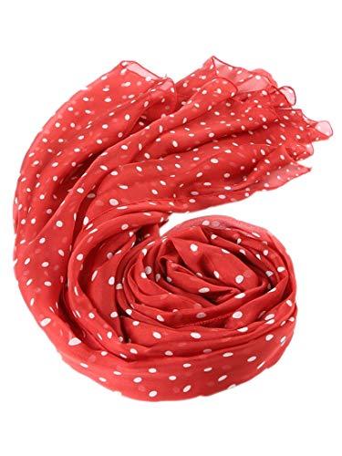 prettystern - leicht & drün Chiffon Strand Seidenschal Polka Dots Punkte gepunktet - 200/65 Rot Chiffon Dot