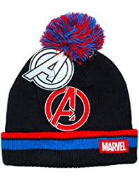 45ec61d6cc0 Boys Marvel Avengers Beanie Bobble Hat Black Red Blue Age 4-8 Years
