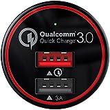 BC Master Chargement rapide 3.0 Allume Cigare 2 Ports USB 34.5W 3A+QC 3.0 Mini chargeur de Voiture pour Samsung Galaxy S7 / S6 / Note 4 / 5, IPhone, HTC One A9, LG G5, Nexus 6, Huawei P9 / P9 Plus, etc. Un Câble Micro USB de 1 M inclus