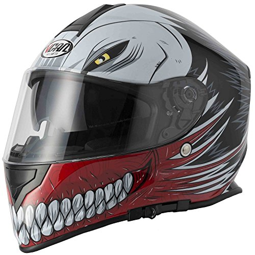 Nuovo stile VCAN V127 HOLLOW Rosso Graphic Moto Scooter Crash Casco Track Quick Sport Full Face ACU e passamontagna (XL)