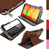 iGadgitz Premium Executive Brown PU Leather Flip Case Cover for Samsung Galaxy Note 3 N9000 III with Multi-Angle Viewing Stand + Screen Protector