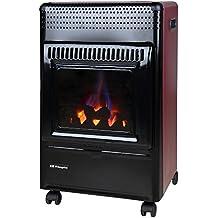 Orbegozo HBF 95 - Estufa de gas butano (tecnología Llama Azul, imitación leña con efecto Fuego Real), color negro y burdeos
