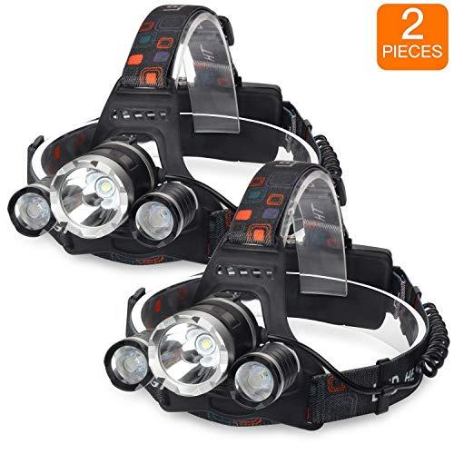 (Discount verkaeufe.) Faro LED, 18000Lumen Torcia faro, 4modalità, impermeabile, batterie illuminazione per i Corsa Walking leggere da campeggio escursionismo equitazione pesca, confezione da 2